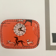 Retro dog fabric 'running dogs' orange clock