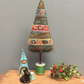 Folk inspired Christmas tree - tall pea green bobbin