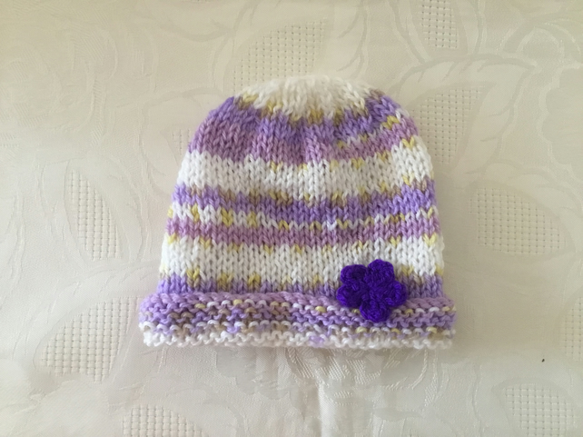 Hand knitted Baby girls hat in lilac and white newborn to 3 months