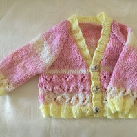 Hand knitted Baby girls cardigan in pink and yellow yarn 4 Months plus