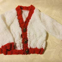 Hand knitted Baby girls Christmas  cardigan in a white and red yarn 3-6 Months