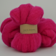 Raspberry Carded Corriedale wool fibre