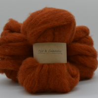 Rust Carded Corriedale wool fibre