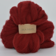 Ruby Carded Corriedale wool fibre