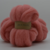 Salmon Pink Carded Corriedale wool fibre