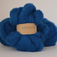 Deep Sea Blue Carded Corriedale wool fibre