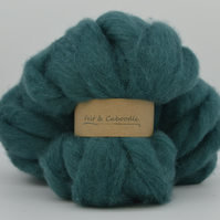 Teal Carded Corriedale wool fibre