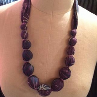 Textile and bead long line necklace - 100% recycled.