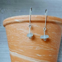 Sterling silver and sea glass earrings.