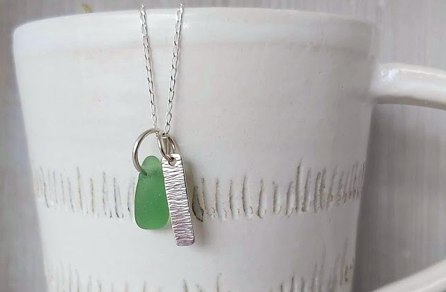 Sterling silver and sea glass pendant necklace