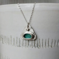 Sterling silver and Seaham sea glass pendant necklace.