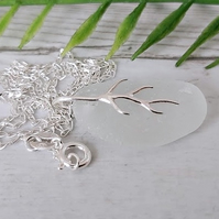 Sea glass and sterling silver pendant necklace.