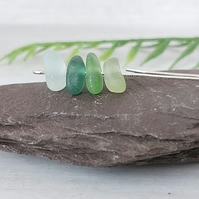 Sterling silver and Seaham sea glass drop earrings.