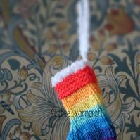 Rainbow mini Christmas stocking tree decoration SET of 5