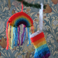 Rainbow Christmas tree decorations SET of TWO