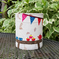 """Tea & Cake"" Picture lantern with LED candle"