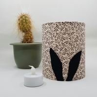 Black Rabbit Ears Silhouette Lantern with LED candle (Beige Floral Fabric)