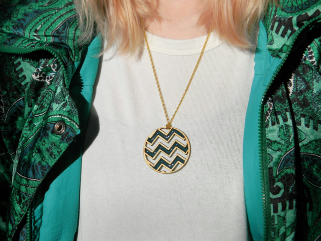 Wood & Resin Chevron Necklace