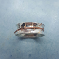 Silver single initial spinner ring