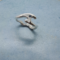 Eco silver wavey waves ring with cornflower blue sapphire