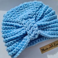 Baby blue newborn turban hat