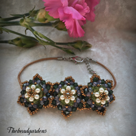 Leather bracelet with beaded flowers