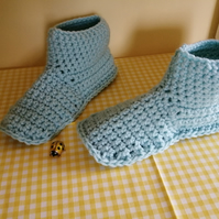 Hand Crocheted Slipper Boots in Aqua Blue