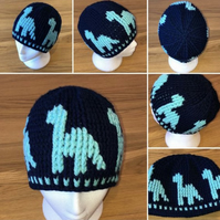 Dinosaur Beanie Hat child size Navy and Mint Green