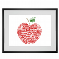 Personalised Best Teacher Apple Design Word Art Print