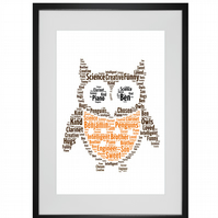 Personalised Best Teacher Owl Design Word Art Print