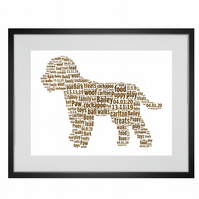 Personalised Cavapoo Cockapoo Dog Design Word Art Gifts