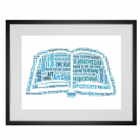Personalised Best Teacher Book Design Word Art Print