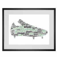 Personalised Football Boot Design Word Art Gifts