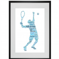 Personalised Tennis Player Design Word Art Gifts