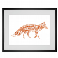 Personalised Fox Design Word Art Gifts