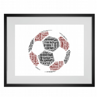 Personalised Football Design Word Art Gifts