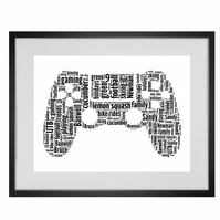 Personalised Gaming Controller Design Word Art Gifts