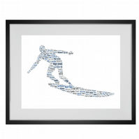 Personalised Surfer Surfing Design Word Art Gifts