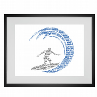 Personalised Surfer Surfing Wave Design Word Art Gifts