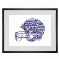 Personalised American Football Helmet Design Word Art Gifts