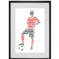 Personalised Football Footballer Red Design Word Art Gifts