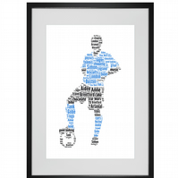 Personalised Football Footballer Blue Design Word Art Gifts
