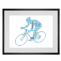 Personalised Cyclist Design Word Art Gifts