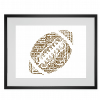 Personalised American Football Design Word Art Gifts