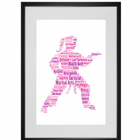 Personalised Female Martial Arts Karate Judo Jujitsu Taekwondo Design Word Art