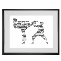 Personalised Martial Arts Karate Jujitsu Judo Taekwondo Design Word Art Gifts