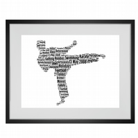 Personalised Martial Arts Karate Jujitsu Taekwondo Judo Design Word Art Gifts
