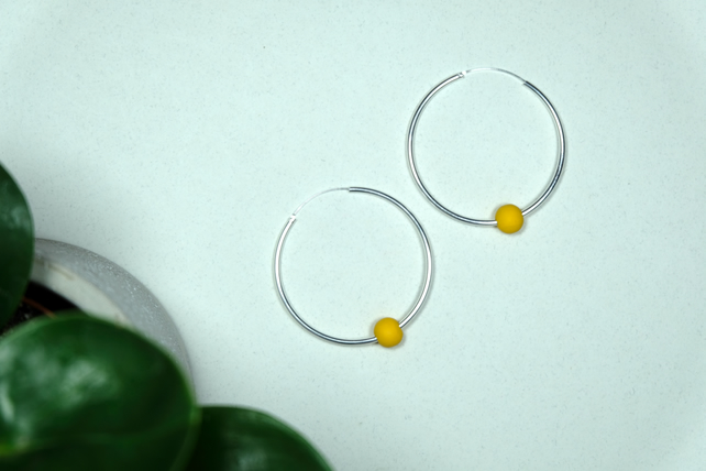 Handmade Mustard Yellow & Silver Hoop Earrings Large - Wooden Beaded - 8 Designs