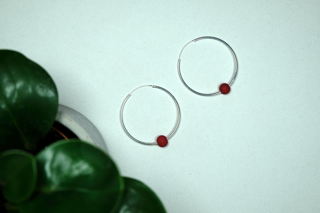 Handmade Red & Silver Hoop Earrings Large - Wooden Beaded - 8 Designs