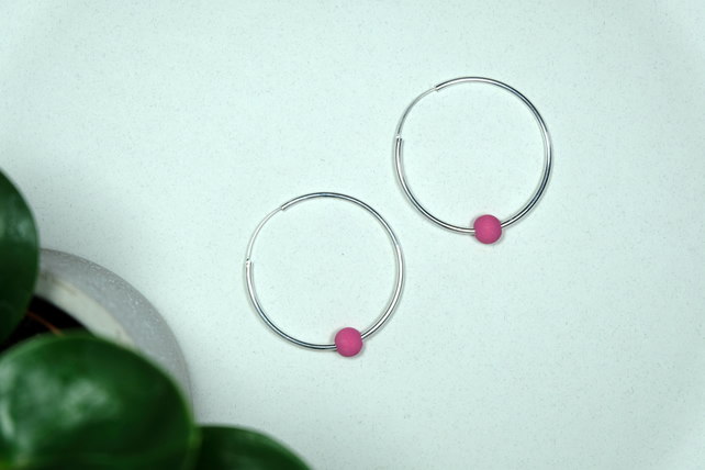 Handmade Bright Pink & Silver Hoop Earrings Large - Wooden Beaded - 8 Designs